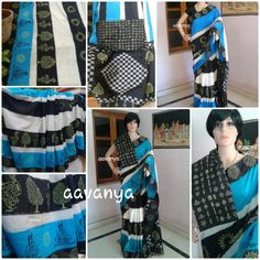 www.facebook.com/aavanya Blue black Ikkat saree combo with nature n musical block print...  Sold out