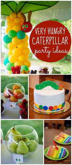 This Very Hungry Caterpillar party has an amazing cake! Plus, fun food ideas! See more party ideas at CatchMyParty.com!