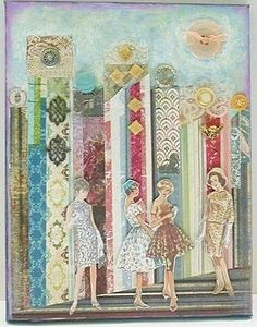 Fabulous way to use some of the vintage dress pattern photos....SO chic & well, VINTAGE ❤ love! Cityscape Mixed Media Art Collage on Canvas New York City Fashion District. $80.00, via Etsy.