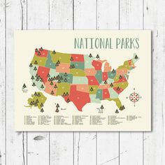 """Map of national parks printable file (JPEG) download and print any size between 5""""x7"""" and 16""""x20"""""""