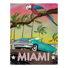 Miami vintage retro Travel print