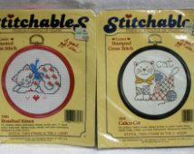Stitchables counted cross stitch crosstitch kits Calico Cat Rosebud Kitten
