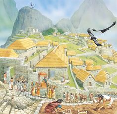 """Reconstruction in a fine drawing of """"The royal settlement of Machu Picchu."""" Repinned by Elizabeth VanBuskirk"""