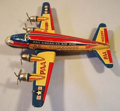 missing tail, otherwise truly superb. EARLY 50'S TIN FRICTION PAA AIRPLANE, ALPS JAPAN...looks to be unsold old store stock