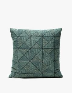 Modern throw pillow from Muuto in Green. Three-dimensional-looking pattern. Small logo tag at zip closure. Modern Throw Pillows, Linen Pillows, Decorative Pillows, Cushions, Hanging Dryer, Three Dimensional, Minimalist Design, Home Improvement, Feather