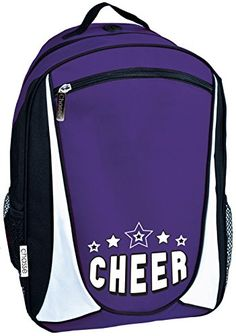 Chass_© Girls' Cheer Backpack With 2 Color Stars And Logo - Purple