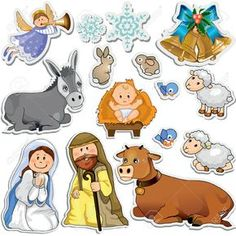 Buy Nativity Scene Stickers by iostephy on GraphicRiver. Set of Christmas stickers representing the characters of the holy family-Gradient Nativity Clipart, Nativity Crafts, Christmas Nativity, A Christmas Story, Christmas Crafts, Christmas Stickers, Christmas Clipart, Nativity Scene Pictures, Idees Cate