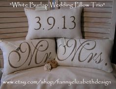 3 Wedding Pillows FREE SHIPPING-- Mr. and Mrs.- Burlap Mr. and Mrs. Pillows-  Wedding Gift- Rustic Wedding-Pillow- Decorative Pillow- on Etsy, $105.00