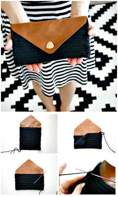 How To Free Crochet Leather Flap Clutch Pattern