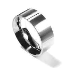 A simple brushed platinum band with polished comfort fit rounded interior by KONZUK