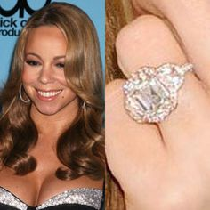 Mariah Carey wears a one of a kind 17-carat emerald cut diamond worth 2.5 million dollars. The pink center stone is 10-carats and has 58 pink diamonds and two half moon-cut diamonds surrounding it. Buy the look-alike ring, and see the wedding profile of Mariah Carey and Nick Cannon.Photo: Flynet Pictures