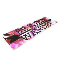 "Ebi Emporium ""Be Wild and Wander"" Pink Yoga Mat"