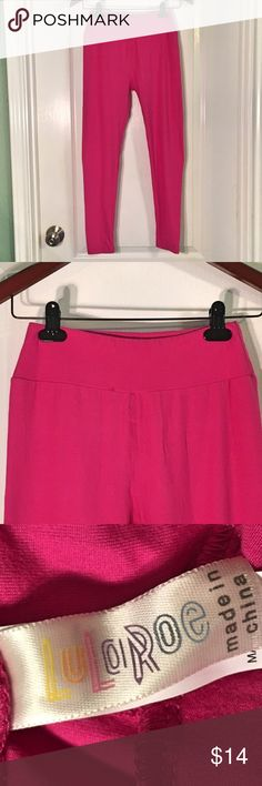 LuLaRoe Hot Pink Leggings LuLaRoe Hot Pink Leggings ~ One Size ~ Small Thread Loose As Shown In Last Picture LuLaRoe Pants Leggings
