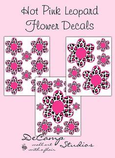 Hot Pink Leopard Flower Wall Decals for teen girls bedroom, baby nursery room, or childrens art decor. #decampstudios