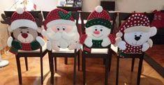 CURSO DE COSTURA – COMO HACER CUBRE SILLA NAVIDEÑAS (CON VÍDEO PASO A PASO) – CURSO GRATIS DE COSTURA Christmas 2017, Christmas Projects, Merry Christmas, Christmas Decorations, Christmas Ornaments, Holiday Decor, Knitted Booties, Holiday Tables, Ideas Para