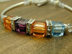 Birthstone Bracelets, Up to 14 Stones, Sterling Silver Tubes & Clasp from Black River Beads for $25.00 – $65.00