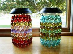 hand made, solar light on decorated jar?