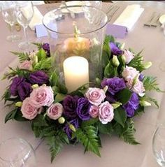 hydrangea ring candle centerpiece wedding - Google Search
