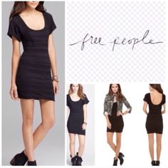 Free people black bodycon dress NWOT such a cute dress. In too short waisted for it so I haven't worn it. Cute as a casual dress but easy to dress up too. Free People Dresses