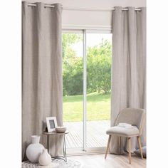 COMISO grey/white eyelet curtain 110 x 250 cm