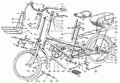 exploded bike, technical drawing, line drawing, black and white