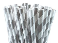 25 Papierstrohhalme ♥ Streifen grau-weiß von frollein feierlich auf DaWanda.com