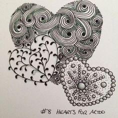 08 Hearts For Artoo Zentangle Drawings, Zentangle Patterns, Doodle Drawings, Art Drawings Sketches, Zentangles, Doodle Art, Heart Doodle, Tangle Art, Tattoo Bracelet