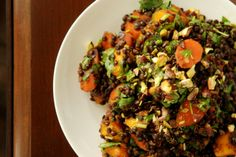 Moroccan Carrot, Mango and Lentil Salad 1 cup black beluga lentils, rinsed 1 tbsp olive oil 5-6 large carrots, peeled and sliced in 3/4 cm ...