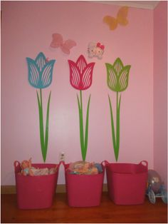 "Little Girl Room Décor that can grow with her!  Easy organization for her age - six years old.  Favorite activities are sorted into three buckets or ""planters."""