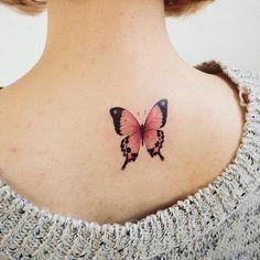 Cute Butterfly Tattoo On Upper Back - Cute Tattoos Mini Tattoos, Rosa Tattoos, Back Tattoos, Body Art Tattoos, Small Tattoos, Flower Tattoos, Sleeve Tattoos, Tatoos, Ribbon Tattoos