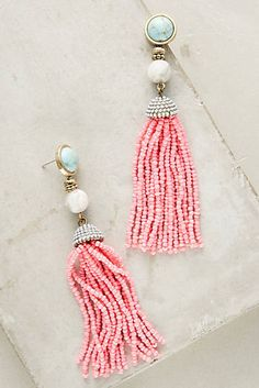Pink Tassel Drop Earrings I www.anthropologie.com