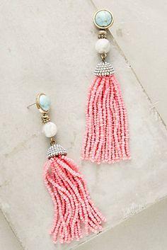 Pink Tassel Drop Earrings I www.anthropologie.com