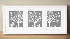 Nursery Art Prints - CUSTOM COLOR - Peaceful Tree Series (3) 11x14's