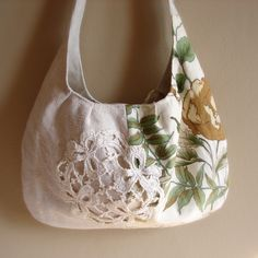 made with antique linen and vintage fabric - lace appliqued