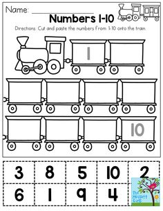 and paste numbers You could use this as a one-time activity, or laminate it and use it over and over again in the classroom!Cut and paste numbers You could use this as a one-time activity, or laminate it and use it over and over again in the classroom! Numbers Preschool, Learning Numbers, Preschool Learning, Kindergarten Worksheets, Teaching Math, In Kindergarten, Preschool Activities, Train Activities, Weather Activities