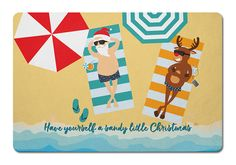 Beach Santa & Reindeer Christmas Floor Mat