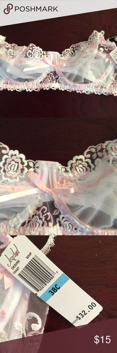 Lacy pink & white bra Gorgeous NEW WITH TAGS lacy white and pink bra.  Jezebel in size 38C Jezebel Intimates & Sleepwear Bras