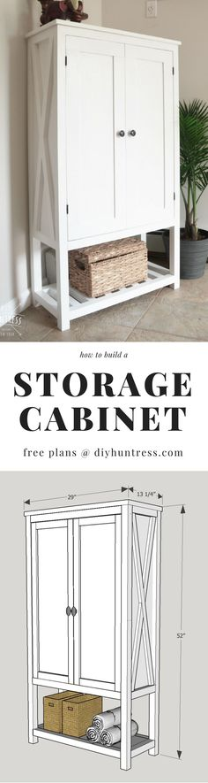 Learn how to build a trendy wooden cabinet with decorative X features with #free printable woodworking plans. Great for a pantry, laundry room, or bathroom! Painted with Purdy Paint Tools and @HGTVHOMEbySherwinWilliams! the details, the storage… (drooling #ad #diy