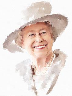 #302 Elizabeth II | Great Britain, Queen Digital watercolor.… | Flickr