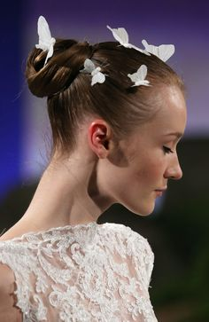 Delicate butterfly hair accessories at the Ines Di Santo Bridal Spring 2016 show // Wedding Hair and Makeup Ideas From Bridal Fashion Week