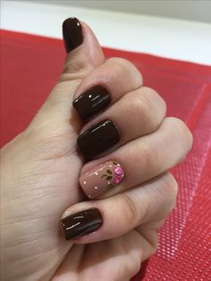 Gelish Nails, Diy Nails, Brown Nails, Hair Skin Nails, Autumn Nails, Flower Nails, Permanent Makeup, Nail Tutorials, Nails On Fleek