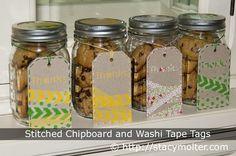 Stitched washi tape tags