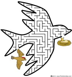 This bird shaped maze is a great printabe worksheet for kids who love animals, especially birds. Mazes For Kids Printable, Fun Worksheets For Kids, Animal Activities For Kids, Puzzles For Kids, Kindergarten Activities, Fun Activities, Visual Perceptual Activities, Bible Tools, Maze Worksheet