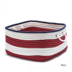 Look at this Red Nautical Stripe Square Braided Basket by Colonial Mills Fabric Storage Bins, Fabric Bins, Storage Baskets, Fabric Basket, Storage Boxes, Navy Pink, Red White Blue, Colonial, Rectangular Baskets