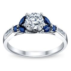 14K White Gold Diamond and Sapphire Engagement Ring 5/8 Carat Total Weight
