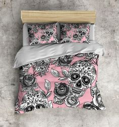 Sugar Skull Bedding  ANY COLOR Mega Print with Large by InkandRags