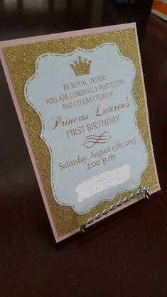 Invitación de cumpleaños de princesa de color rosa y oro 2