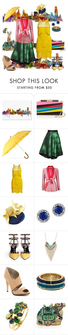 """""""Color pop!"""" by katherineew ❤ liked on Polyvore featuring Trademark Fine Art, Salvatore Ferragamo, London Undercover, chikimiki, Naeem Khan, Plakinger, Effy Jewelry, Valentino, Cara Couture and Michael Antonio"""