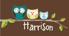 Owl Family Brown Canvas Wall Art