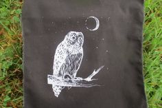 Owl in the moon back patch by amarahollowbones on Etsy